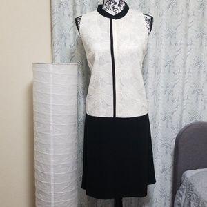LOFT Black and White Lace Top Sleeveless Dress